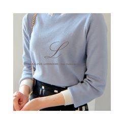 LEELIN - Mock-Neck Wool Blend Sweater