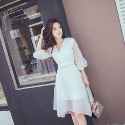 Bossy Lady - Tull-Sleeve Chiffon Dress