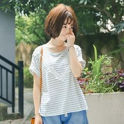 Angel Love - Floral Panel Stripe Short-Sleeve T-Shirt