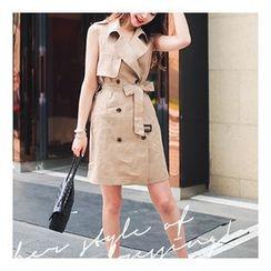 Bongjashop - Sleeveless Linen Trench Dress with Belt