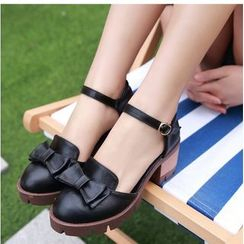 Freesia - Ankle Strap Bow Pumps