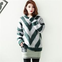 GLAM12 - Wool-Blend Color-Block Sweater