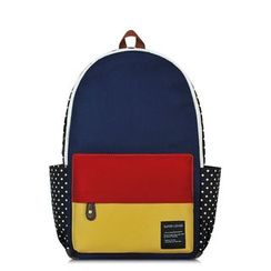 SUPER LOVER - Color-Block Dotted Canvas Backpack