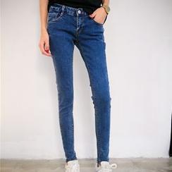 雅典娜 - 做舊緊身牛仔褲