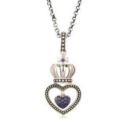 MBLife.com - Left Right Accessory - 925 Silver Cross Crown on Milgrain Heart with Dangling Purple CZ Heart Necklace (18')