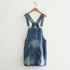 Piko - Distressed Denim Jumper Dress