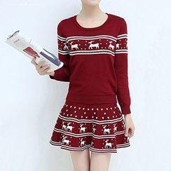 Lavogo - Set: Pattern Sweater + Knit Skirt