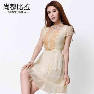 Sentubila - Lace-Trim Mesh Dress with Belt