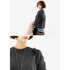 ssongbyssong - Inset Check Shirt Distressed Knit Top