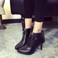 Yoflap - Front Zip Heel Ankle Boots