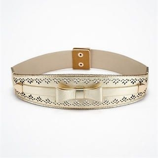 Moonbasa - Bow-Accent Perforated Elasticized Belt