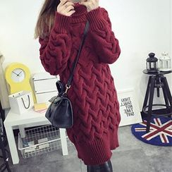 FR - Turtleneck Cable Knit Long Sweater