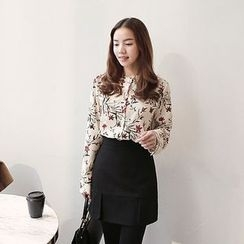 Seoul Fashion - Mandarin-Collar Floral-Pattern Blouse