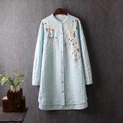 藍玫瑰衣坊 - 刺繡長款襯衫