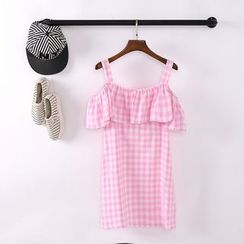 GOGO Girl - Gingham Off-Shoulder A-Line Dress