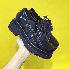 kokoin - Lace-Up Patent Platform Shoes