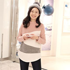 CLICK - Mock-Neck Color-Block T-Shirt