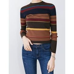 FROMBEGINNING - Color-Block Ribbed Sweater