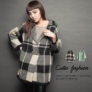 CUTIE FASHION - Notched-Lapel Plaid Knit Coat