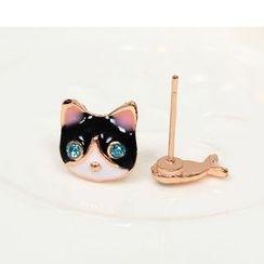 Coolgirl - Cat Non-Matching Stud Earrings