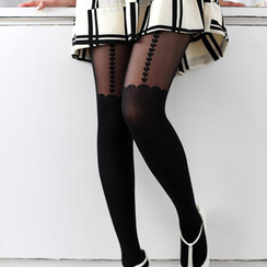 59 Seconds - Heart Print Scalloped Tights