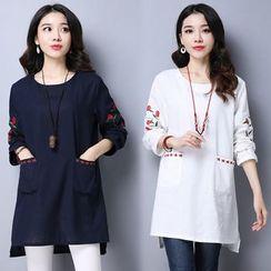 Salisha - Long-Sleeve Embroidered Pocketed T-Shirt