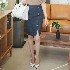 ode' - Button-Front Slit-Hem Skirt