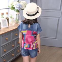 Petit Chatons - Kids Set: Printed Denim Short-Sleeve T-Shirt + Shorts