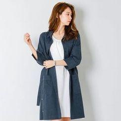 FASHION DIVA - Hidden-Button Cotton Coat with Belt