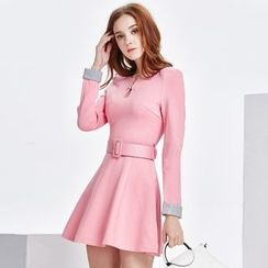 Sienne - Long Sleeve A-Line Dress with Belt