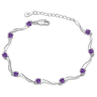 BELEC - White Gold Plated 925 Sterling Silver with Purple Cubic Zirconia Bracelet
