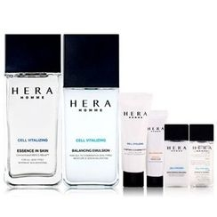 HERA - Homme Cell Vitalizing Set: Essence in Skin 125ml + 20ml + Balancing Emulsion 110ml + 20ml + Cleansing Form 25ml + Essence in BB 10ml