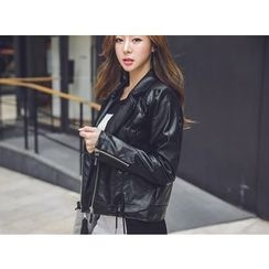 UUZONE - Faux-Leather Rider Jacket