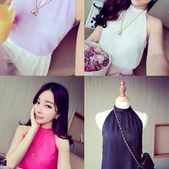 QZ Lady - Sleeveless Mandarin-Collar Layered Chiffon Top