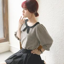 Tokyo Fashion - Elbow-Sleeve Lace-Collar Top