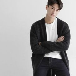 Seoul Homme - Open-Front Ribbed-Panel Cardigan