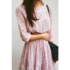 CHERRYKOKO - Smocked-Waist Floral Chiffon Mini Dress