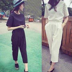Clair Fashion - Set: Stripes Cropped Top + Pants