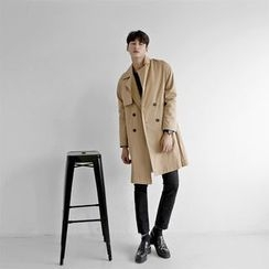 Seoul Homme - Flap Trench Coat with Belt