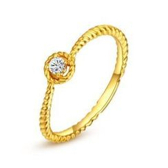 MaBelle - 18K Yellow Gold Diamond Solitaire Halo Stackable Twisted Band Wedding Ring (0.07ct)