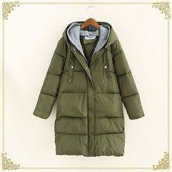 Fairyland - Knit Panel Hooded Plain Padded Coat