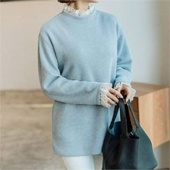 JOAMOM - Drop-Shoulder Lace-Trim Knit Top