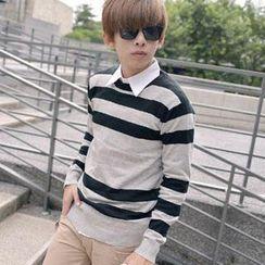 SeventyAge - Striped Knit Sweater