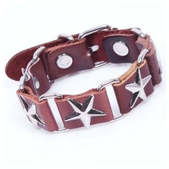 KINNO - Star Stud Genuine Leather Bracelet