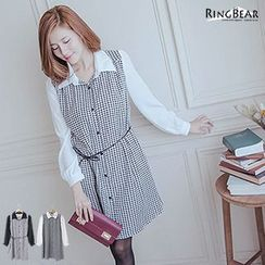 RingBear - Long-Sleeve Houndstooth Panel Dress