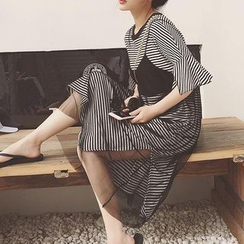 Jolly Club - Set: Short-Sleeve Striped Long T-Shirt + Sleeveless Spaghetti-Strap Chiffon Dress