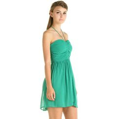 59 Seconds - Tie-Neck Halter Ruched Cocktail Dress