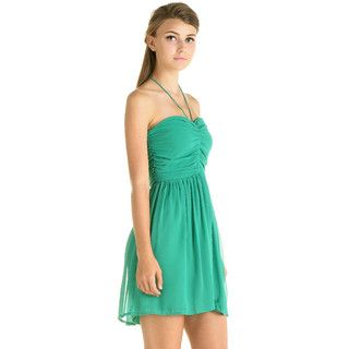 YesStyle Z - Tie-Neck Halter Ruched Cocktail Dress