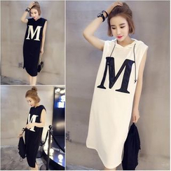 YOSH - Letter Applique Hooded Tank Dress