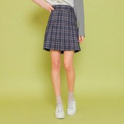 Seoul Fashion - Check-Patterned Pleated Miniskirt